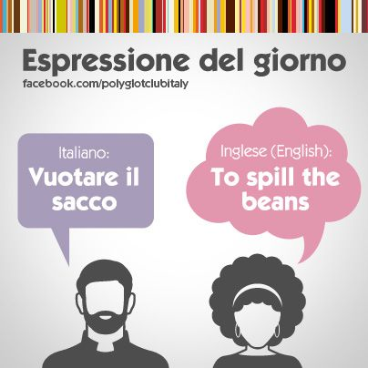 English / Italian idiom: To spill the beans