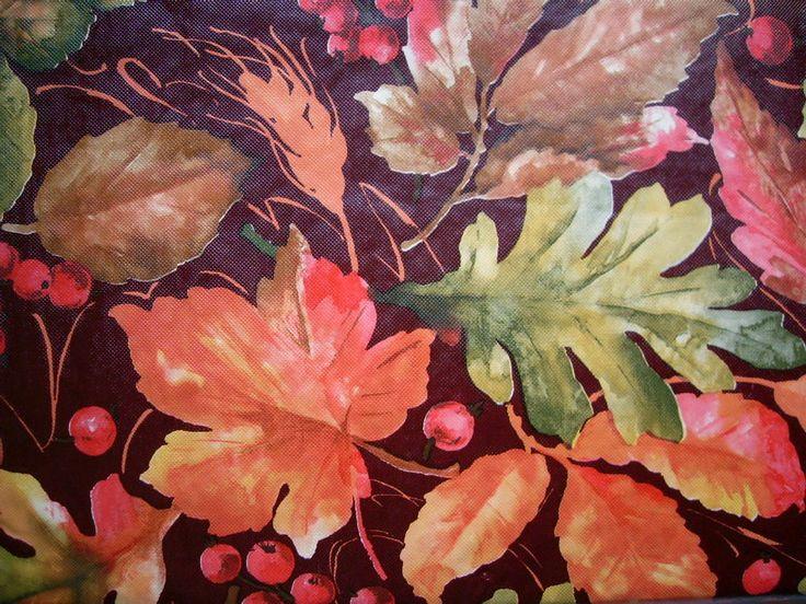 52x70 FALL LEAVES BERRIES Oblong TABLECLOTH Vinyl/flannelBack Multi Color  Elrene