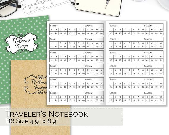 B6 Tn Inserts Traveler S Notebook Printable Tv Shows Tracker