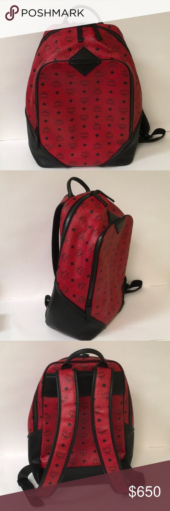 """MCM Duke Visetos Backpack Up for sale is a preowned MCM Duke Visetos Backpack in excellent, clean condition with no major wear and only showing minor signs of prior use. The Leather on the interior is velvety soft.  The exterior is in great shape. It measures 16"""" x 11"""" x 5"""". Authentic guaranteed. This is a rare, hard to find color. MCM Bags Backpacks"""