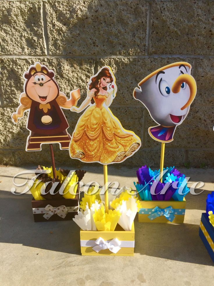 Beauty and The Beast Birthday Centerpiece Chip Mrs. Potts Chip Cogsworth Lumber  birthday handcrafted wood centerpieces for birthday ONLY 1 by RosiesPoshParties on Etsy https://www.etsy.com/listing/236415572/beauty-and-the-beast-birthday