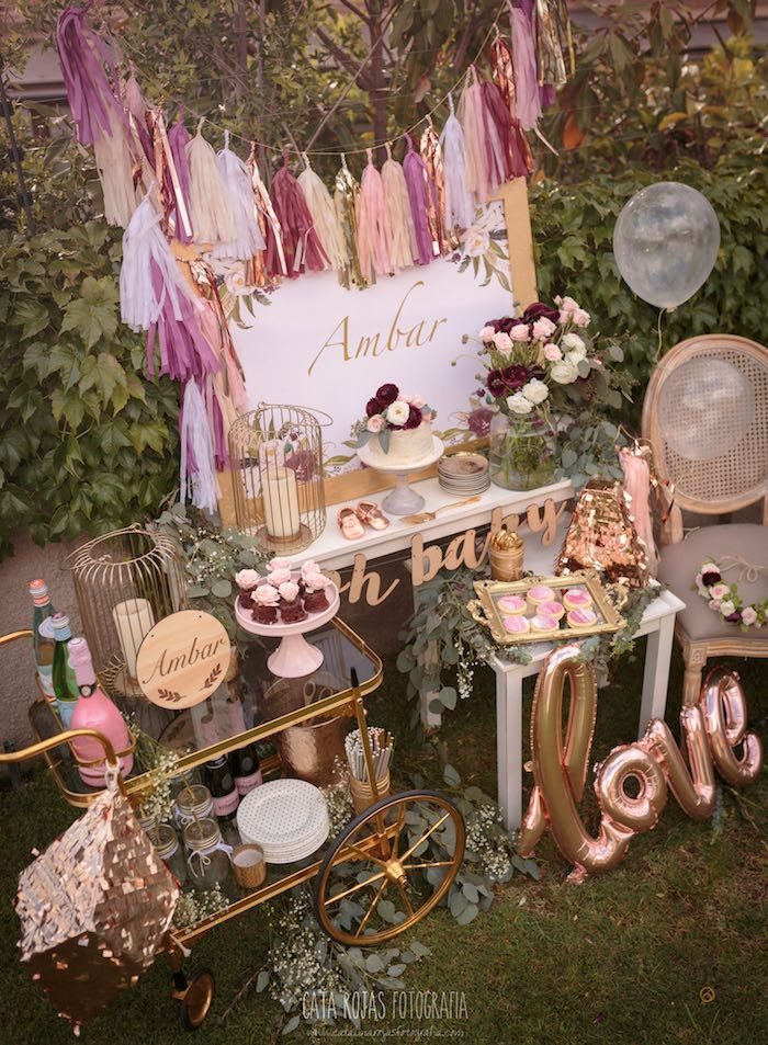 Burgundy, Blush & Gold Boho Baby Shower on Kara's Party Ideas | KarasPartyIdeas.com (12)                                                                                                                                                                                 More