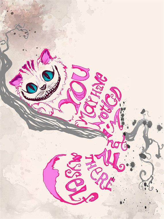 Alice in Wonderland Quote Print  Cheshire Cat  di Inawonderworld