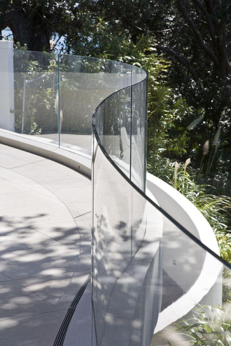 Glass railings for decks - Curved Glass Deck Railing
