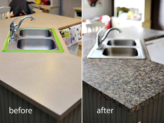 Paint counter tops to create the granite look.