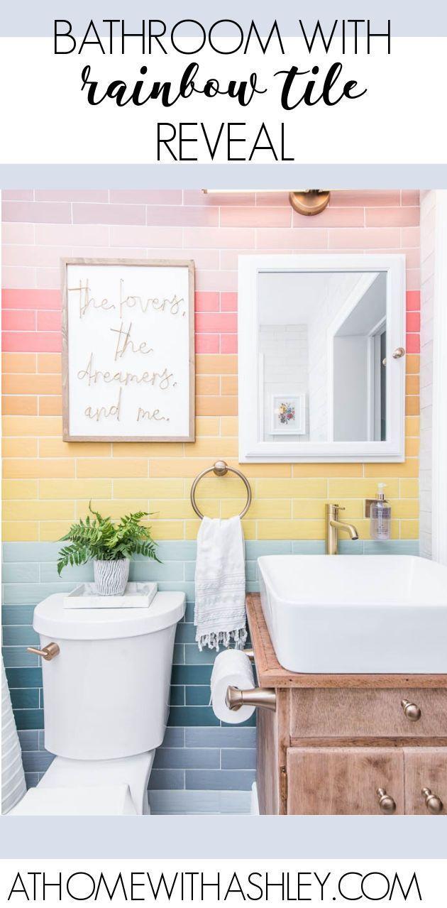 Rainbow Tile Bathroom Reveal Rainbow Tile Modern Kids Bathroom Tile Bathroom