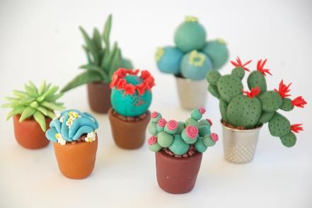 Create your own miniature cactus garden with polymer clay.