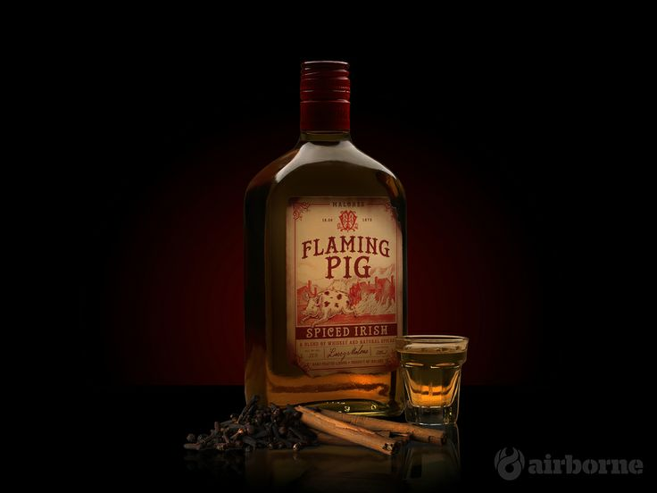 A new product shot for Richmond Marketing. Flaming Pig - A Spiced Irish Whiskey. We shot it in a dark and atmospheric background due to its history. #RichmondMarketing #AirborneCreative #FlamingPig #SpicedIrish #IrishWhiskey
