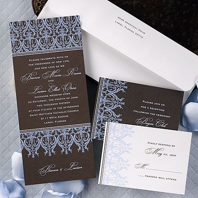 Mist And Chocolate Are A Beautiful Combination On This Tea Length Full Color Invitation