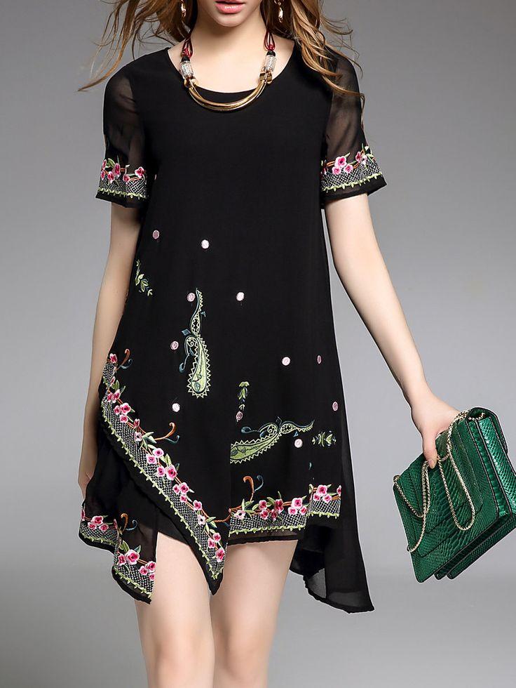 Shop Mini Dresses - Embroidered Short Sleeve Vintage Mini Dress online. Discover unique designers fashion at StyleWe.com.