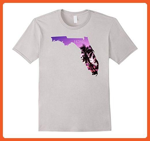 Mens Home Florida State Map T Shirt - Florida Flag T-Shirt Medium Silver - Cities countries flags shirts (*Partner-Link)