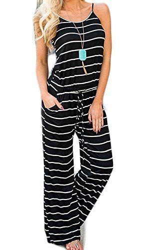 ec138e3915fe Artfish Women Sexy Sleeveless Spaghetti Strap Floral Striped Printed Harem Jumpsuit  Rompers