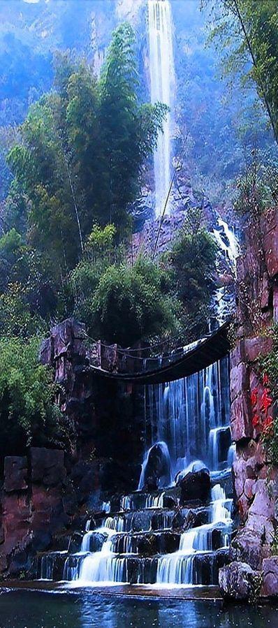 Baofeng Lake Waterfalls and a suspension bridge in Zhangjiajie, China ~ Isn't the world an incredible place?