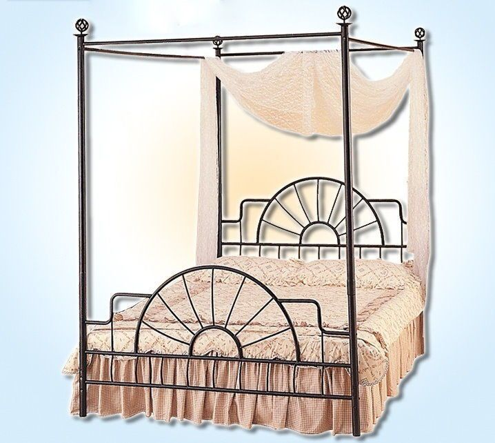ebay $109 free shpg * FULL Size Black Foundry Metal Canopy Bed * 4115-F