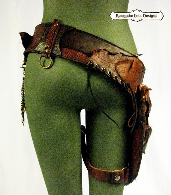 Leather hip bag festival burning man tank girl от Renegadeicon