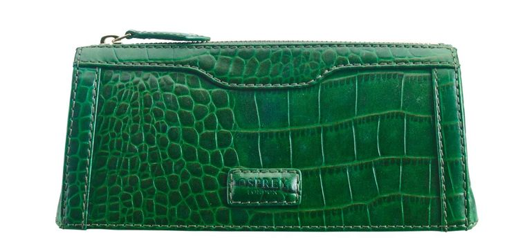 This gorgeous little make-up bag in emerald Polished Croc leather is designed to slip into a drawer at work. Comes in a black OSPREY LONDON presentation box - a great gift.