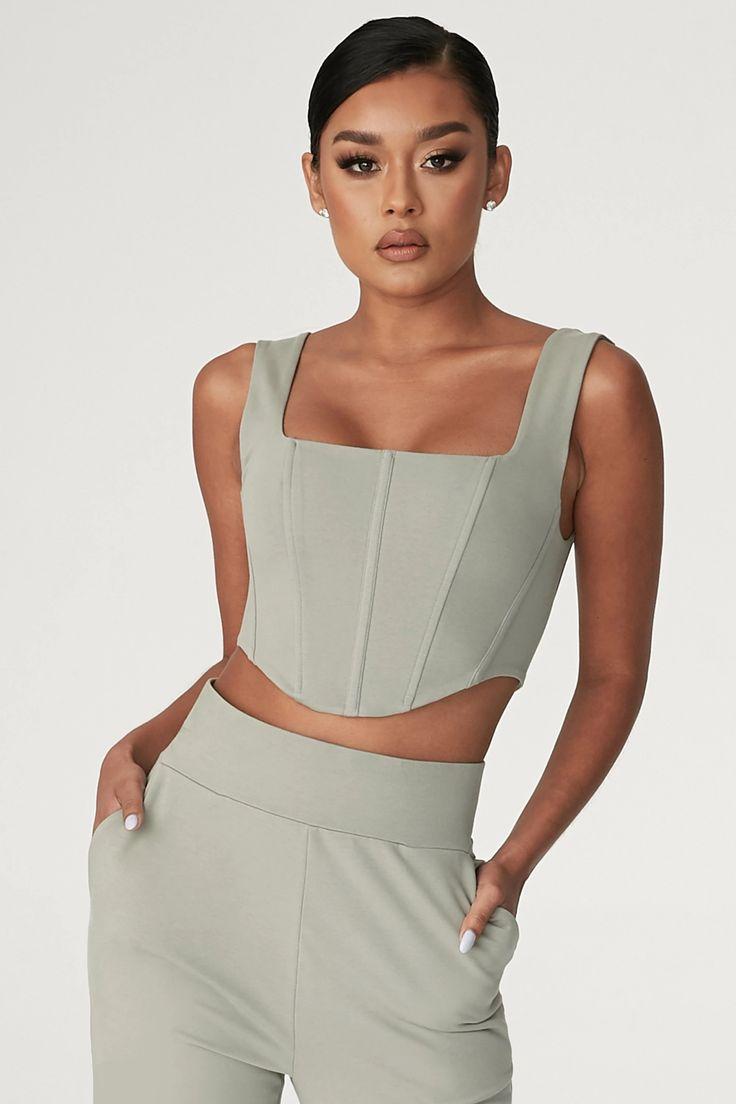 Adara sleeveless corset top sage in 2020 corset top