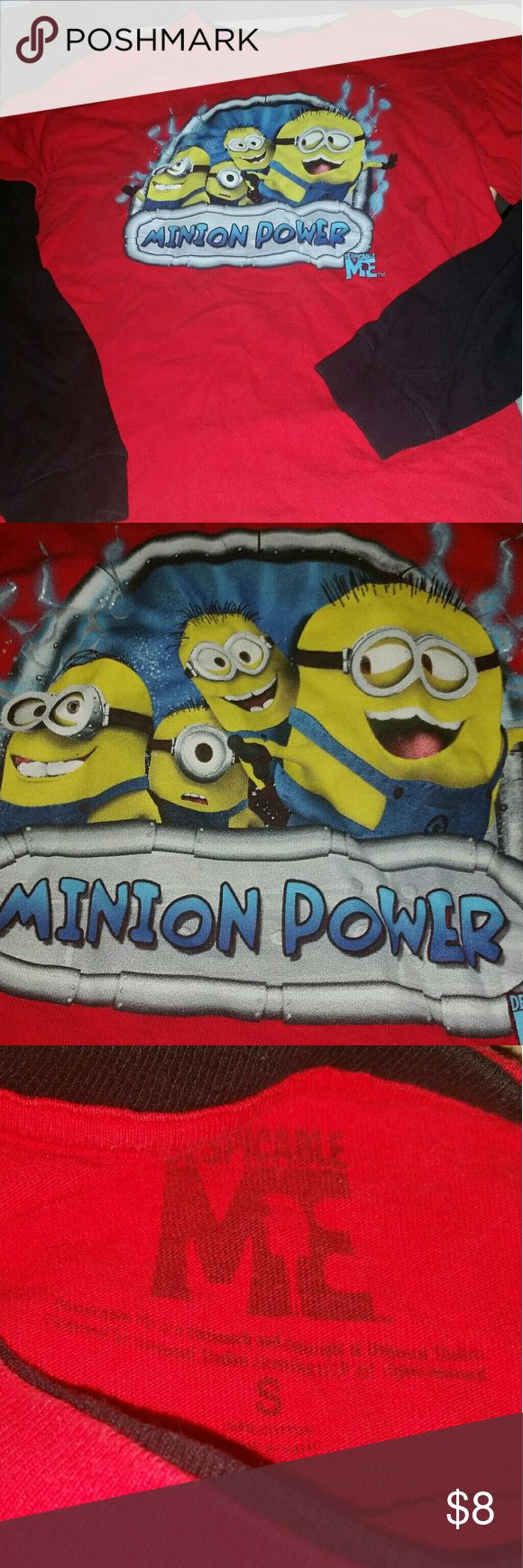"""BOYS """"Minion Power"""" Despicable Me movie Shirt Boys Size Small Long sleeved layered look crew neck shirt featuring the adorably silly Minion characters, Very good pre-owned condition, smoke-free home Shirts & Tops Tees - Long Sleeve"""