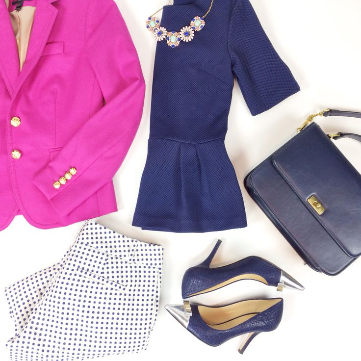 Peplum and polka dots outfit with pink blazer, navy purse and silver metallic cap toe pumps More outfit layouts here: http://www.stylishpetite.com/search/label/Outfit%20Layouts