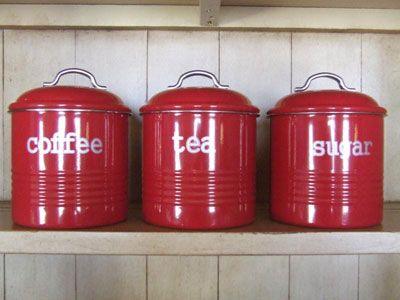 Country Kitchen Canister  on Country Red Enamelware Set Of 3 Canisters