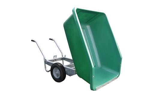 Green 500 litre tipping equestrian wheelbarrow. Our equestrian wheelbarrow is the ideal horse and stable wheelbarrow for mucking out. We offer fixed and tipping equestrian wheelbarrows in different colours. For more information contact us at: http://www.fresh-group.com/equestrian-wheelbarrow.html