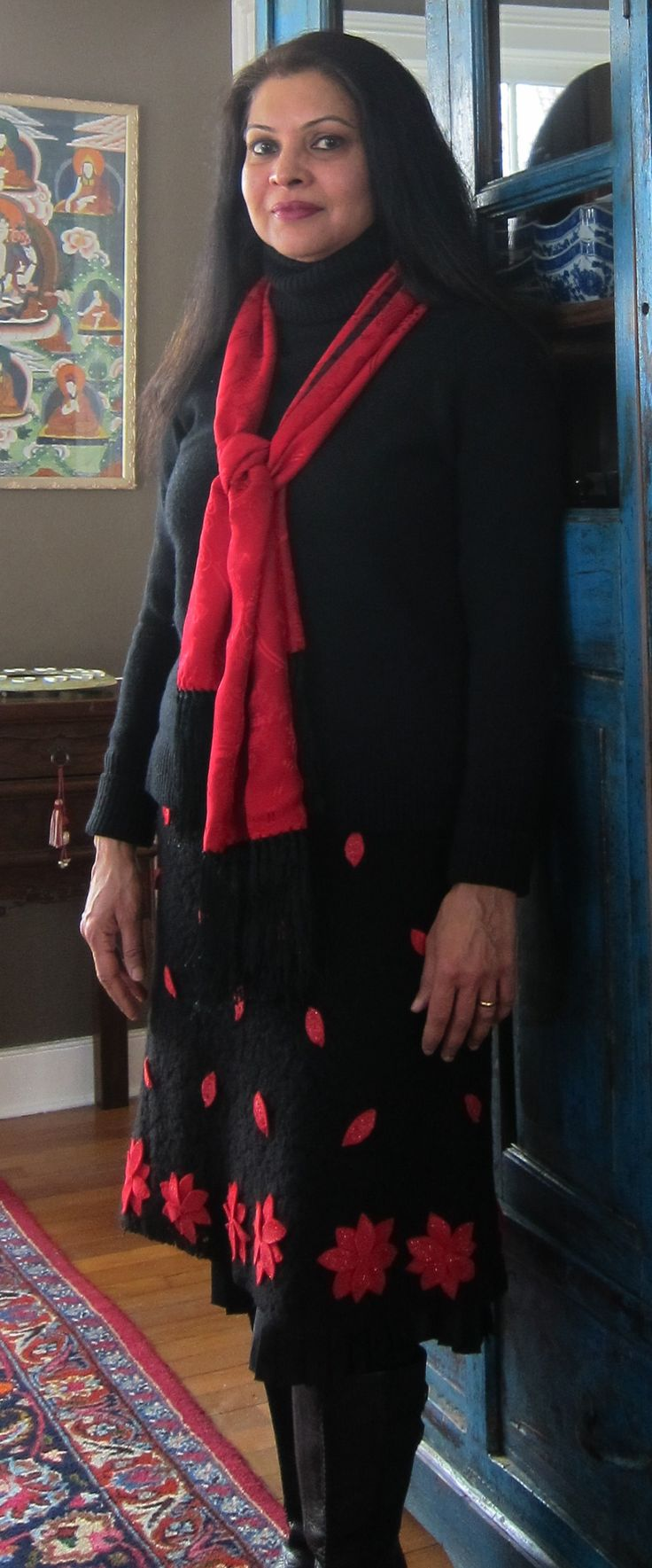 J. Crew wool/cashmere turtleneck, CK Calvin Klein wool guipure skirt with pleated silk lining and felt flowers appliqued by me, Chinese silk scarf and Keen boots - 2018