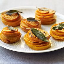 Sweet Potato Stacks with Crispy Sage Leaves: use reduced sodium chicken broth, instead of whipping cream use liquid FF coffee creamer, nothing to count for butter in the quantity used