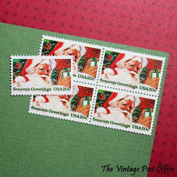 Ten 20c Santa Claus .. Vintage Unused US by TheVintagePostOffice