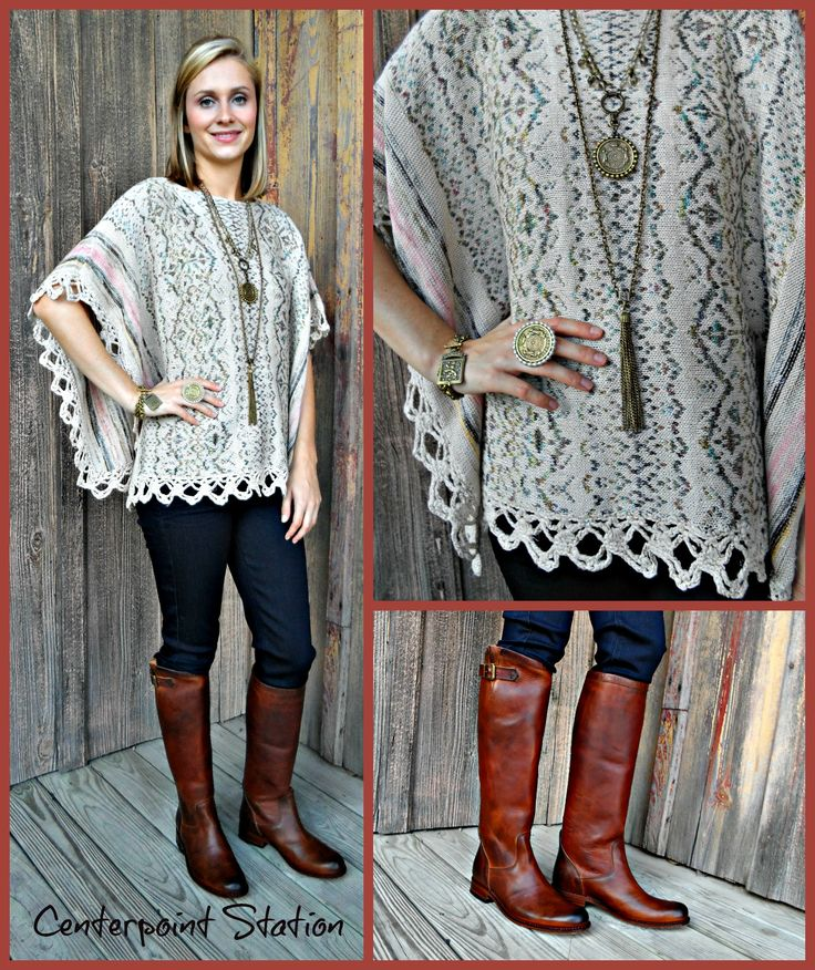 New Jewelry by French Kande, poncho by Mystree and boots by Sendra!  L O V E!!!