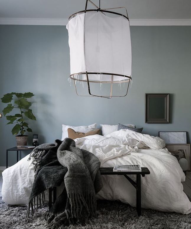 blue grey bedroom via coco lapine design bedroom Organizing Bedroom Clutter organizing the master bedroom