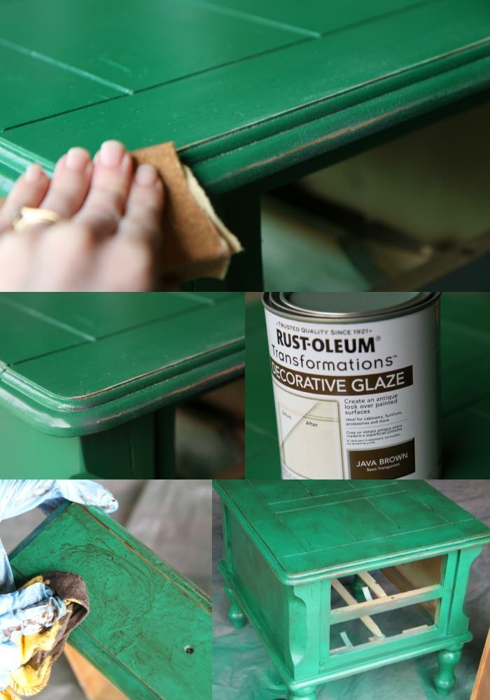 How to spray paint the right way and use glaze to antique spray painted furniture.