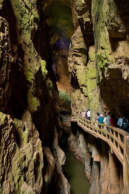 Entrance to the underground caves of Jiuxiang Diehong Bridge Scenic Area, Kunming, China....