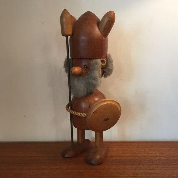 "Hans Bolling LARGE Teak Viking RARE  Vintage 1950s Large Wooden Teak Viking by Hans Bolling  This Danish Teak Viking is in excellent condition except for a small amount of wear on the leather ears. Very rare in this size.   11"" high 3"" deep 4.5"" wide"