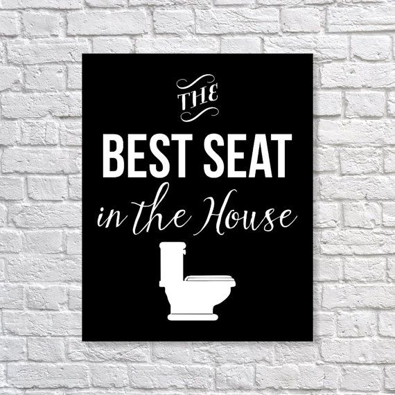 Bathroom Decor Toilet Humor 'The Best Seat In The House' Humorous Funny Art Print 5x7, 8x10, 11x14 Black & White Art, Wall Decor, Home Decor