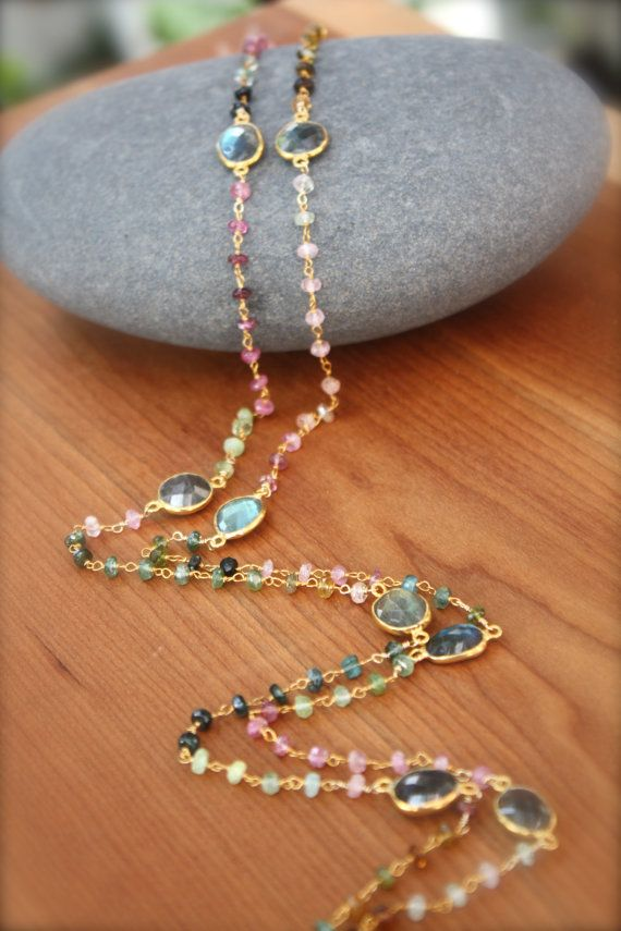 Watermelon Tourmaline and Bezelled Labradorite by yaniamor on Etsy, $115.00