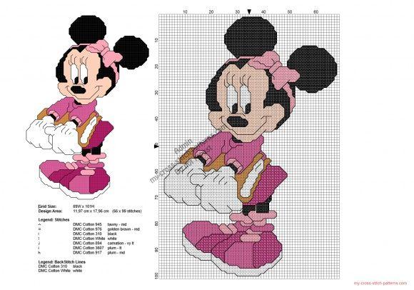 Disney Minnie back to school free cross stitch pattern 66x99