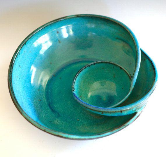 Chip and Dip handmade ceramic dish ceramics and door ocpottery