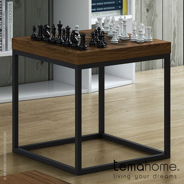 Temahome Chess End Table An end table with a chess board laser printed on the…