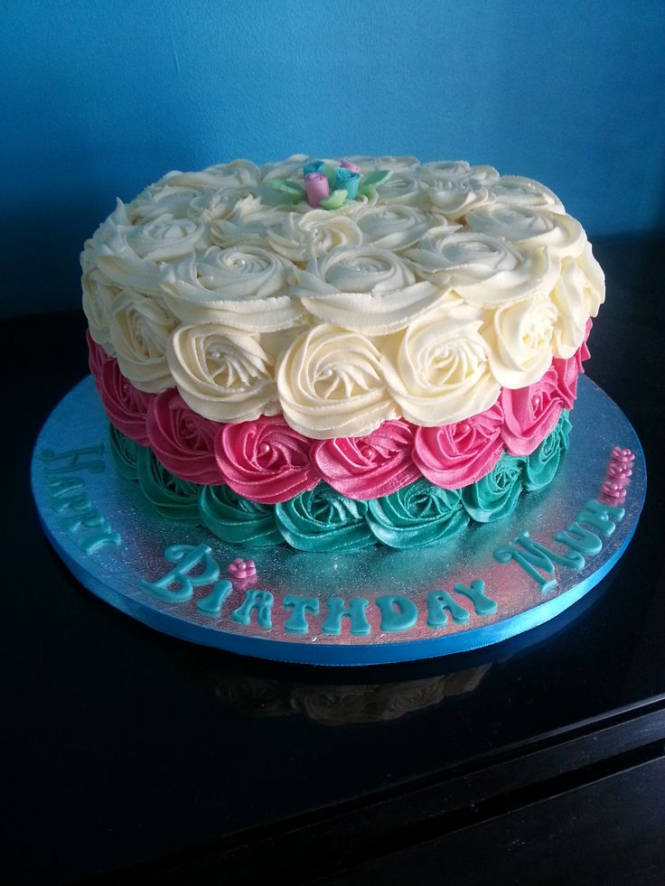 Cake Decorations Pink Roses : 209 best Rose Cakes images on Pinterest Cakes, Rose cake ...