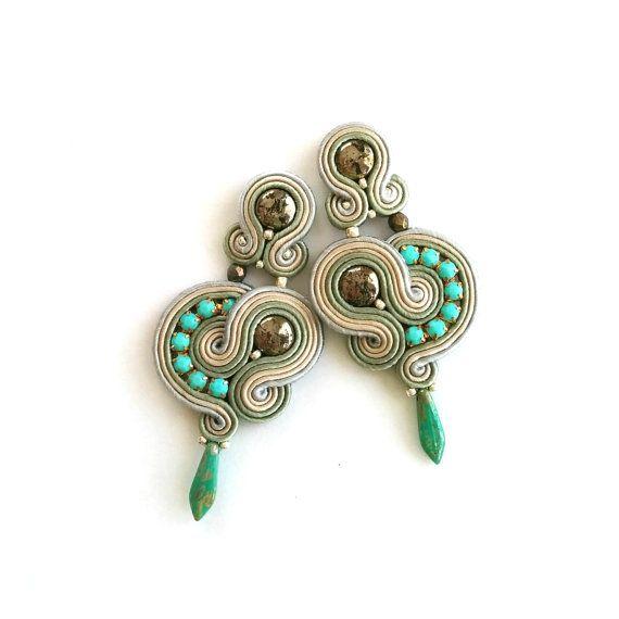 Post earrings - Soutache earrings - Wife Girlfriend Gift - Anniversary - Maid of honor Gift - Native American style - Boho Southwestern