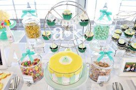 Adrian's Pastel Green & Yellow Carnival Themed Naming Day Dessert Buffet by A&K.