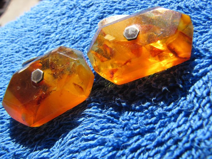 Natural Baltic amber 8 gr cufflinks USSR jewelry gemstone pressed MH #Handmade