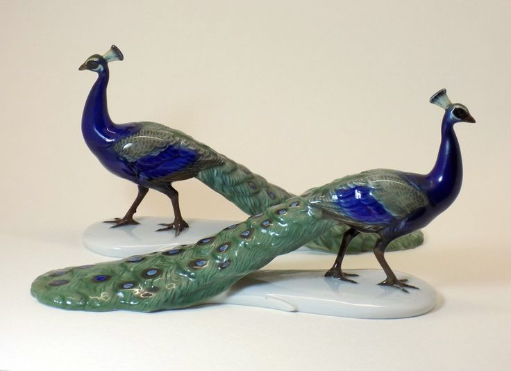 Rosenthal Peacock Figurines Set Of Two Porcelain