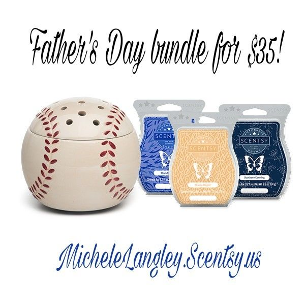 Scentsy Baseball Bundle!  This bundle includes the warmer and 3 wax bars for $35!! That's a $15 savings!!   Order here: https://michelelangley.scentsy.us/shop/p/43208/home-run-bundle  Bars included: - Southern Evening Scentsy Bar  - Thunderstorm Scentsy Bar  - Skinny Dippin' Scentsy Bar