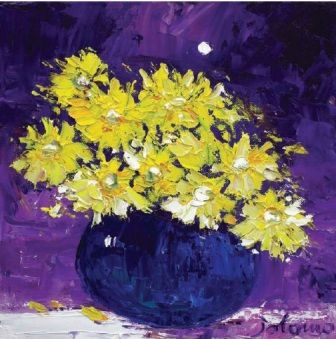 John Lowrie  Morrison (Jolomo) - Yellow Daisies Under the Moon from the www.redraggallery.co.uk online limited edition prints gallery.