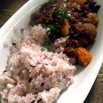 ロス・バルバドス - 料理写真:赤米と実によくあうコンゴの料理ビトト