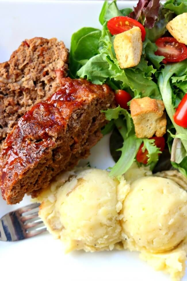 Instant Pot Bacon Barbecue Meatloaf with Mashed Potatoes--the best meatloaf is cooked at the same time and in the same pressure cooker as mashed potatoes.