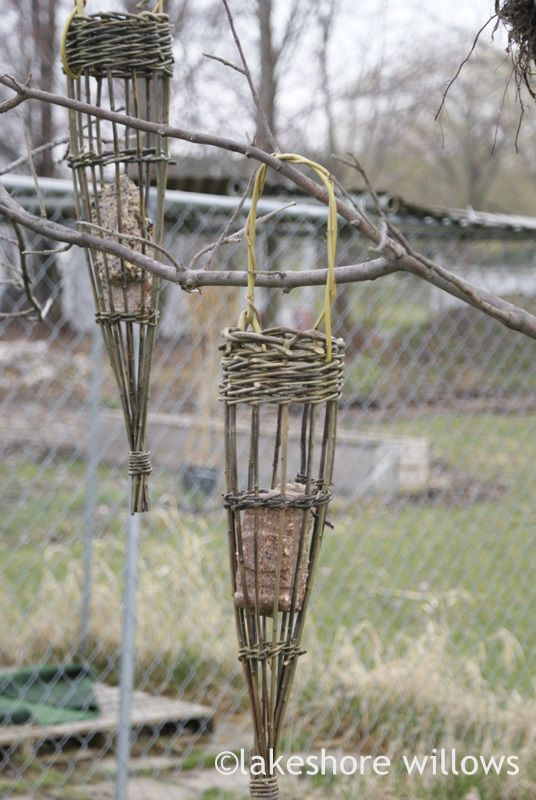 Basketry - lakeshore willows  Willow cone bird feeder for suet
