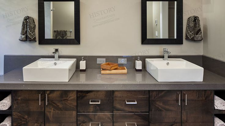 Best cost Motar Grey Quartz Countertops for Bathroom