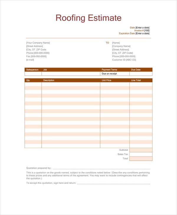 Pdf Docs Word Free Premium Templates Roofing Estimate Estimate Template Roofing